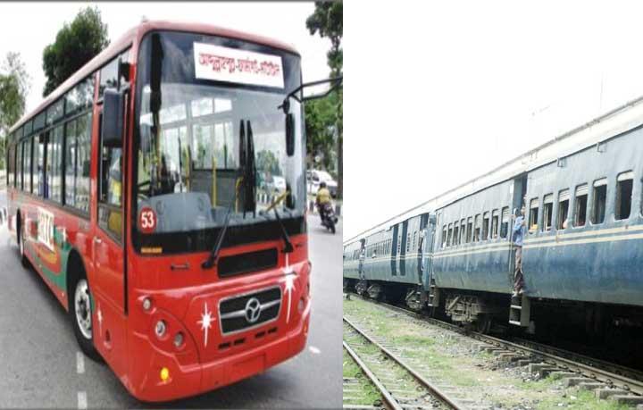 A BRTC bus and a train