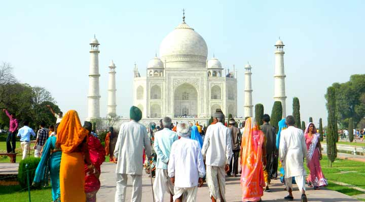 Tourists visit Taj Mahal in India