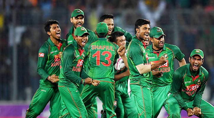 Bangladesh players celebrate the victory