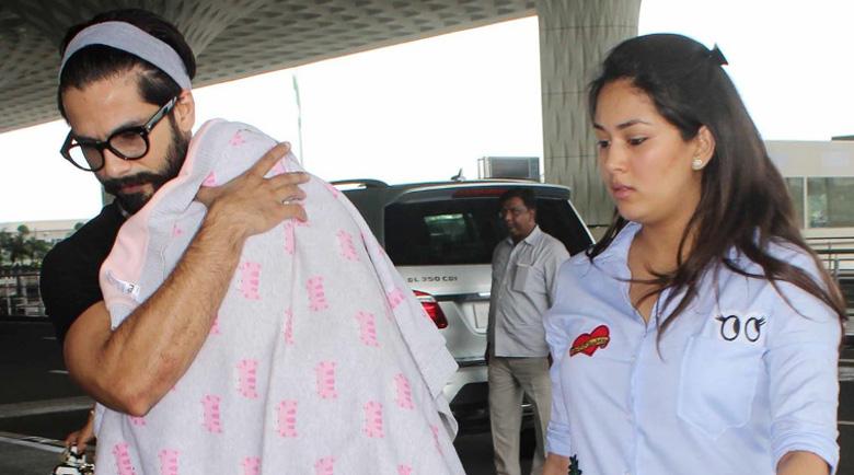 Shahid Kapoor with his wife Mira Rajput and his daughter Misha Kapoor at Mumbai airport.