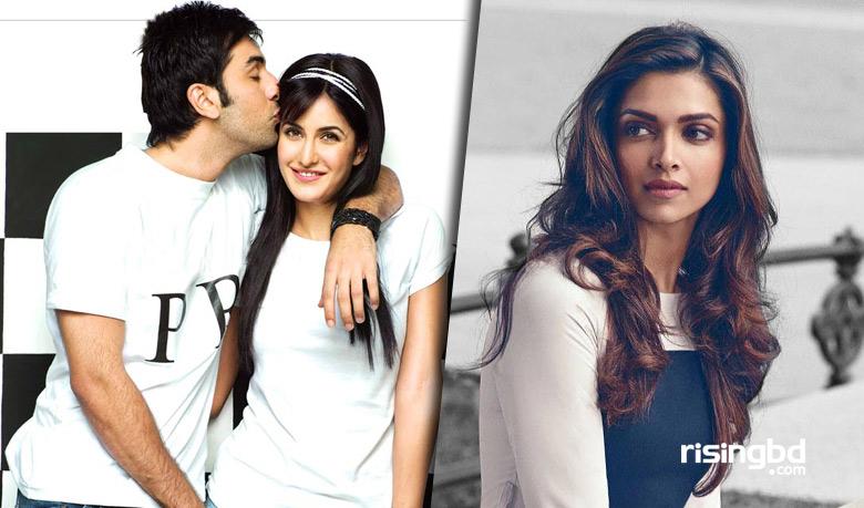 Ranbir Kapoor kisses Katrina Kaif (L) and Deepika Padukone (R)