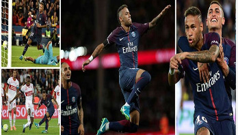 Neymar scores twice on home debut as PSG go top