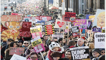 Women hold big rally against Trump