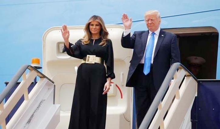 US president Trump arrives in Saudi Arabia