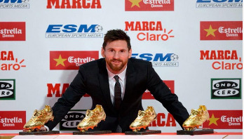 Lionel Messi claims fourth Golden Shoe award
