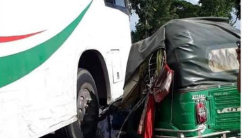 Three killed as bus rams CNG auto-rickshaw