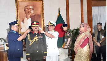 Army chief adorned with General rank badge