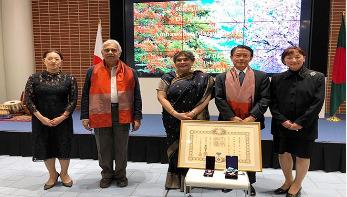 জাপানে বাংলাদেশ দূতাবাসে দুদেশের দুই গুণীজনকে সংবর্ধনা
