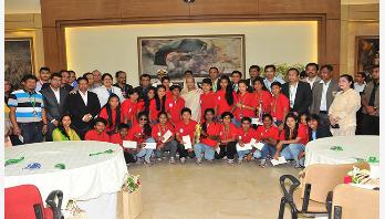 PM gives Tk10 lakh to U-16 girls each