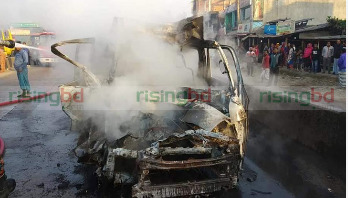 Three burnt to death in Ctg road crash