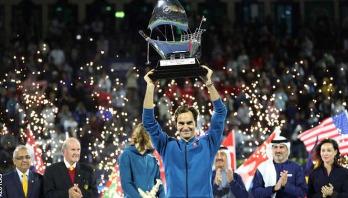 Roger Federer wins landmark 100th ATP title