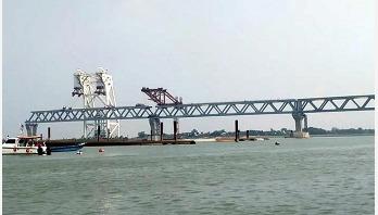 Over 1200 meter of Padma Bridge becomes visible