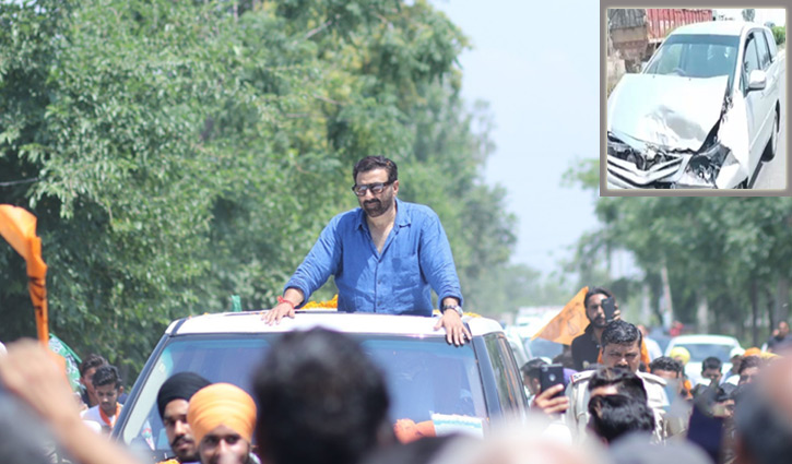 Image result for Sunny Deol narrowly escaped in a road accident