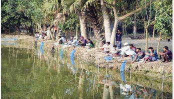 নরসিংদীতে বড়শি দিয়ে মাছ শিকারের প্রতিযোগিতা